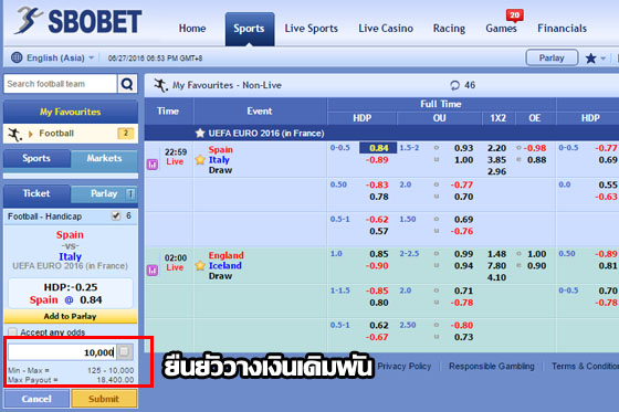 betting sbobet handicap